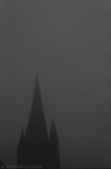 church steeple in fog, Kodak Tri-X 400, Minolta SRT 102