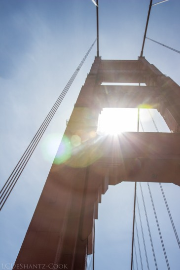 sun flare, Golden Gate Bridge