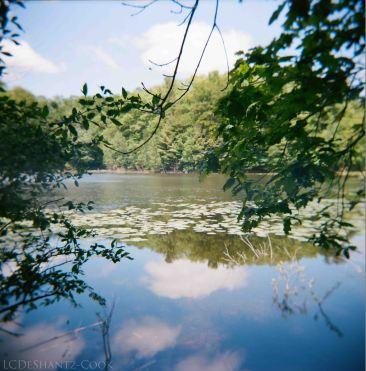 mini lake, sky, Holga