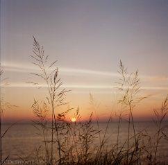 sunset on Lake Michigan, Bronica SQ-A, Lomography 100