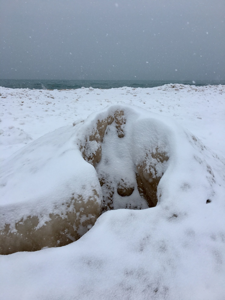 Ice pack on Lake Michigan shoreline
