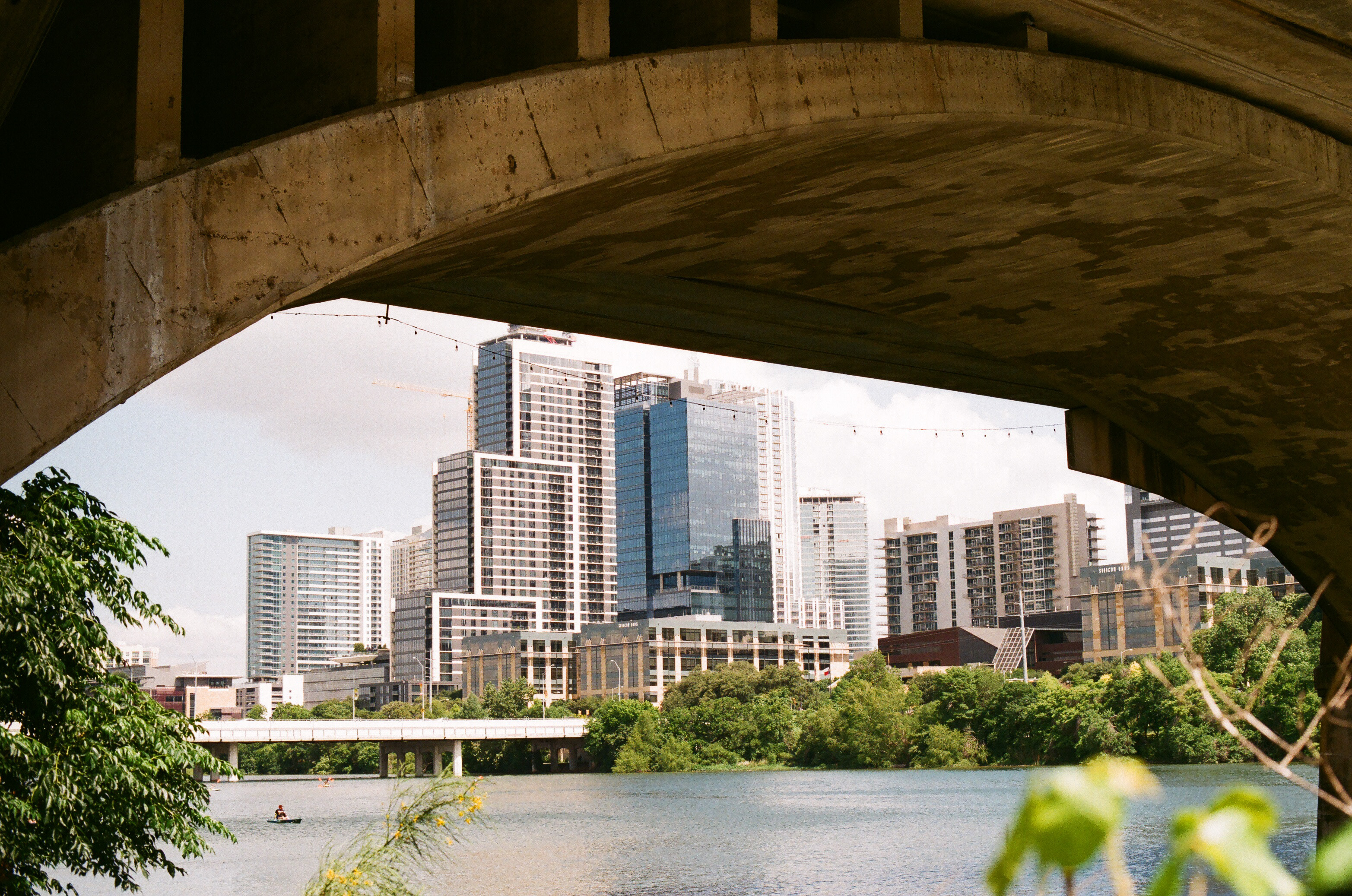 Austin downtown from under the South Congress Street bridge